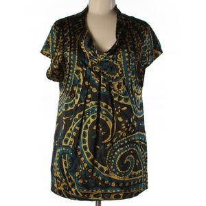 DKNY Paisley Silk Cowl Neck Short Sleeve Blouse